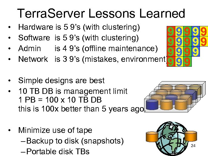 Terra. Server Lessons Learned • • Hardware is 5 9's (with clustering) 99999 Software