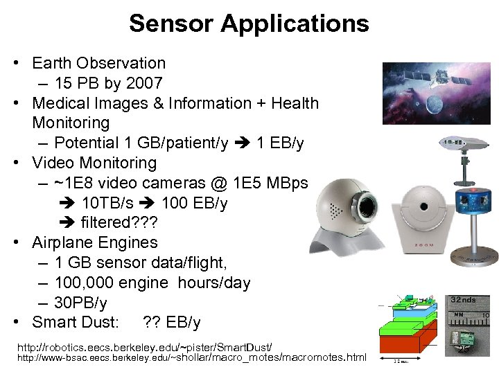 Sensor Applications • Earth Observation – 15 PB by 2007 • Medical Images &