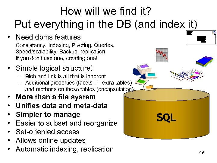 How will we find it? Put everything in the DB (and index it) •