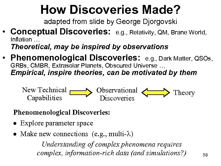 How Discoveries Made? adapted from slide by George Djorgovski • Conceptual Discoveries: e. g.
