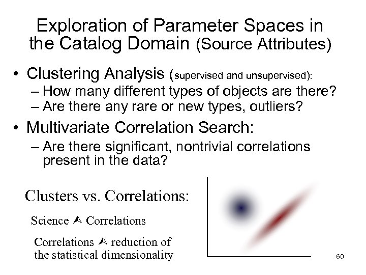 Exploration of Parameter Spaces in the Catalog Domain (Source Attributes) • Clustering Analysis (supervised