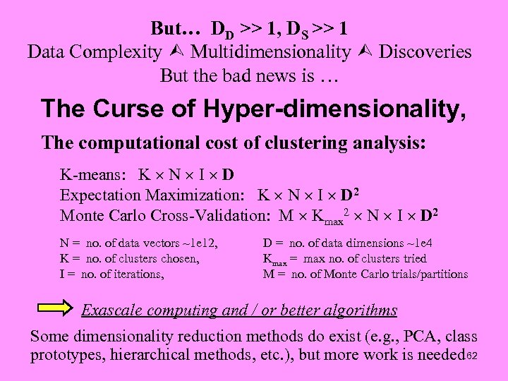But… DD >> 1, DS >> 1 Data Complexity Multidimensionality Discoveries But the bad