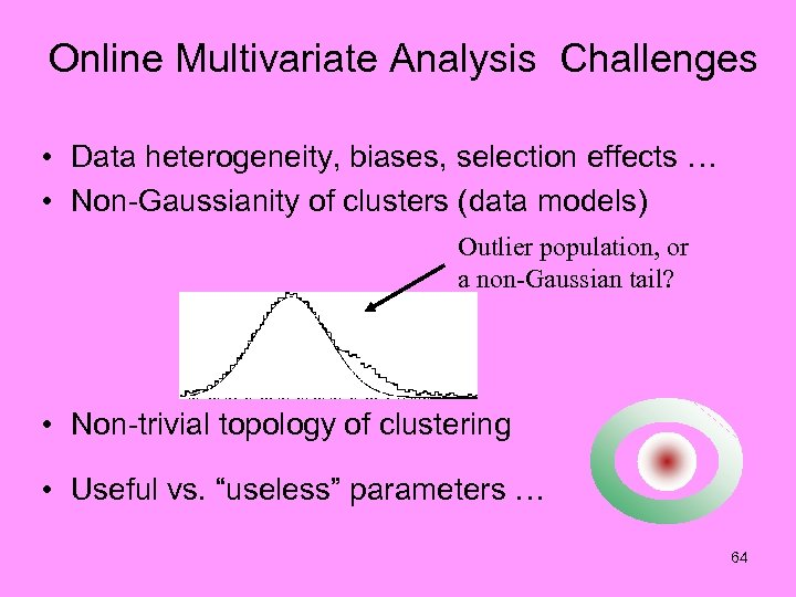 Online Multivariate Analysis Challenges • Data heterogeneity, biases, selection effects … • Non-Gaussianity