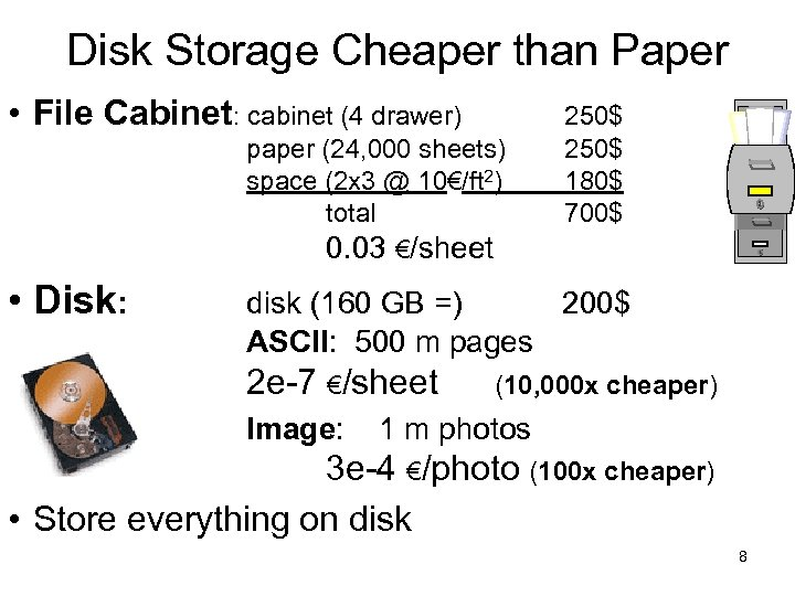 Disk Storage Cheaper than Paper • File Cabinet: cabinet (4 drawer) paper (24, 000