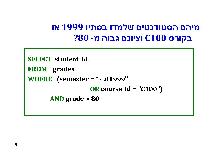 מיהם הסטודנטים שלמדו בסתיו 9991 או ? 80 - וציונם גבוה מ C