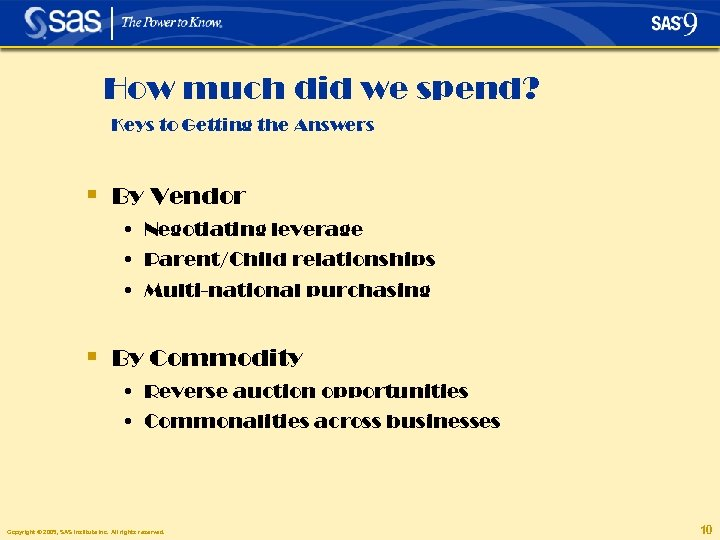 How much did we spend? Keys to Getting the Answers § By Vendor •