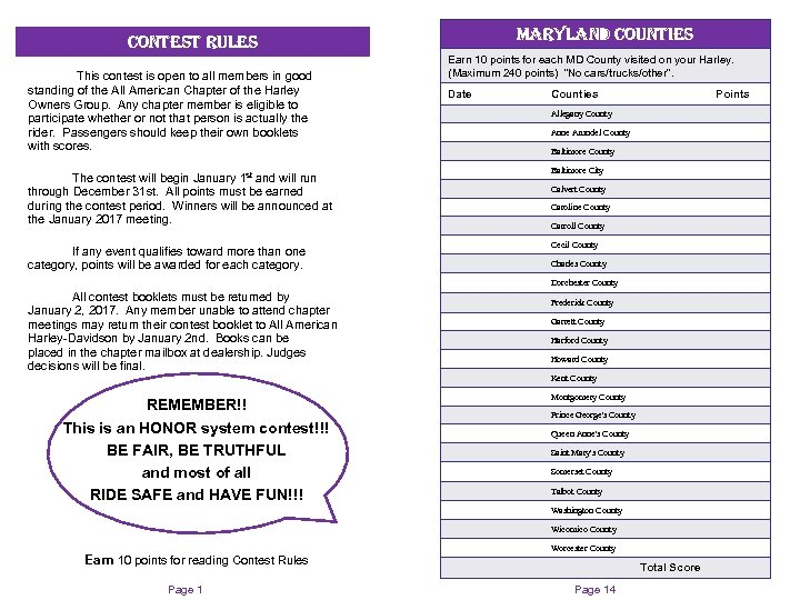maryland counties contest rules This contest is open to all members in good standing