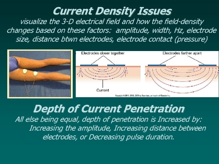 Current Density Issues visualize the 3 -D electrical field and how the field-density changes