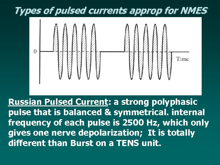 Types of pulsed currents approp for NMES Russian Pulsed Current: a strong polyphasic pulse