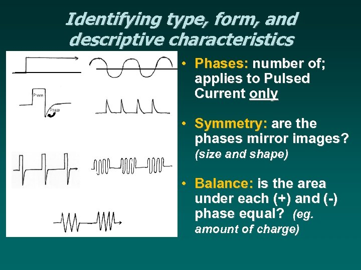 Identifying type, form, and descriptive characteristics • Phases: number of; applies to Pulsed Current