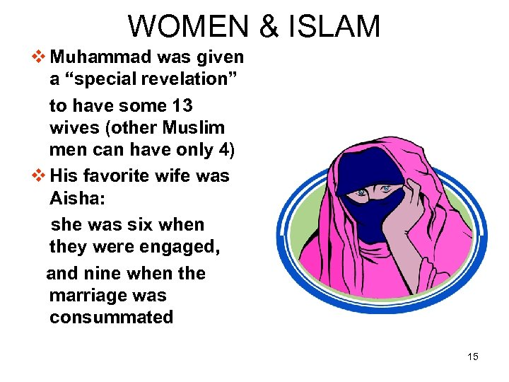 "WOMEN & ISLAM v Muhammad was given a ""special revelation"" to have some 13"