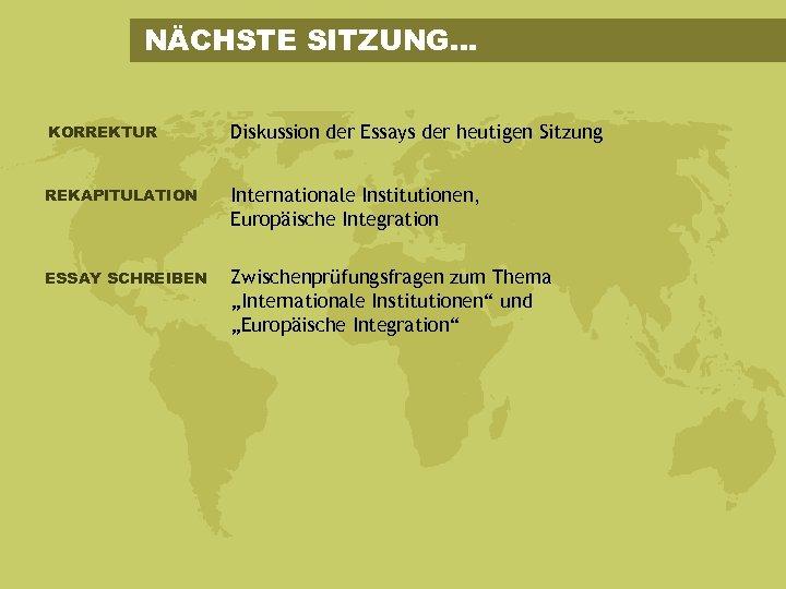 NÄCHSTE SITZUNG. . . KORREKTUR Diskussion der Essays der heutigen Sitzung REKAPITULATION Internationale Institutionen,