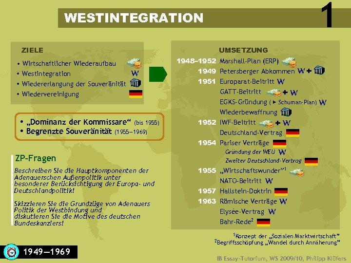 """1 WESTINTEGRATION ZIELE • Wirtschaftlicher Wiederaufbau Westintegration Wiedererlangung der Souveränität Wiedervereinigung """"Dominanz der Kommissare"""""""