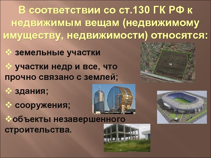 В соответствии со ст. 130 ГК РФ к недвижимым вещам (недвижимому имуществу, недвижимости) относятся: