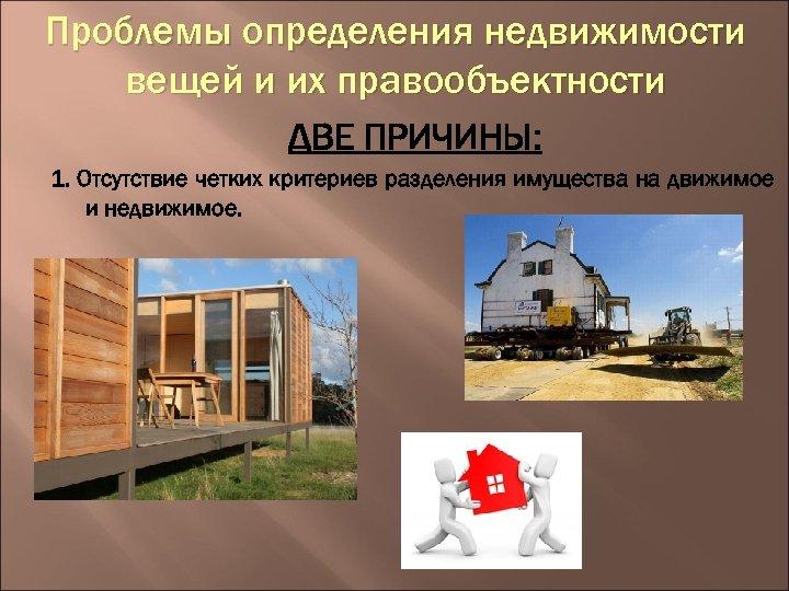 Проблемы определения недвижимости вещей и их правообъектности ДВЕ ПРИЧИНЫ: 1. Отсутствие четких критериев разделения