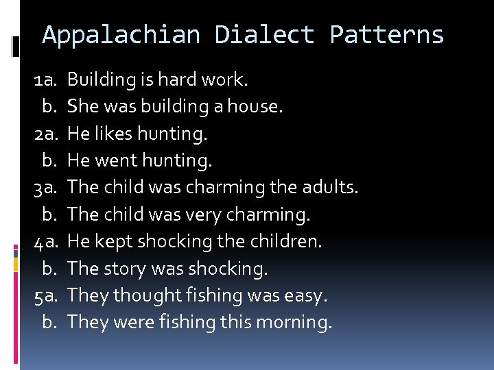 Appalachian Dialect Patterns 1 a. b. 2 a. b. 3 a. b. 4 a.