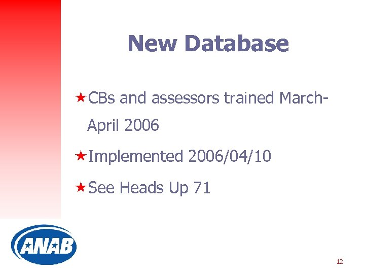New Database «CBs and assessors trained March. April 2006 «Implemented 2006/04/10 «See Heads Up
