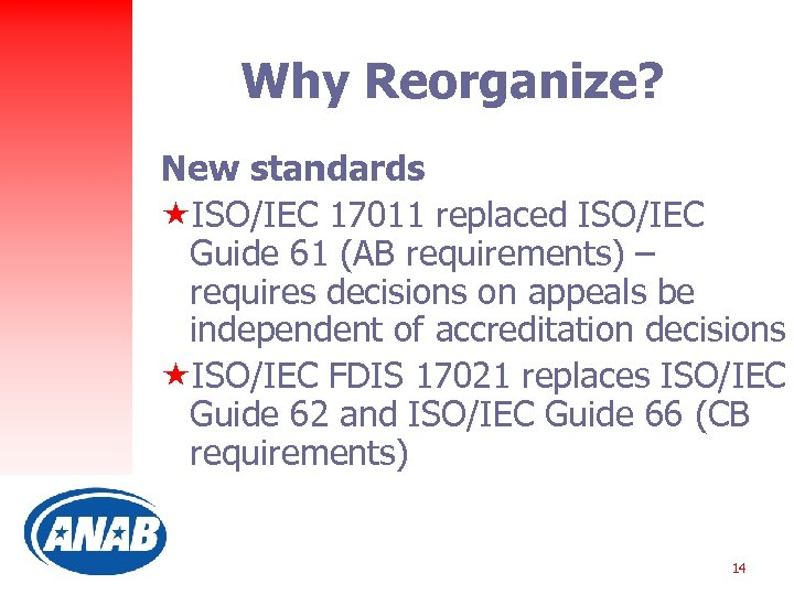 Why Reorganize? New standards «ISO/IEC 17011 replaced ISO/IEC Guide 61 (AB requirements) – requires