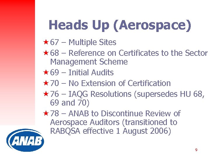 Heads Up (Aerospace) « 67 – Multiple Sites « 68 – Reference on Certificates