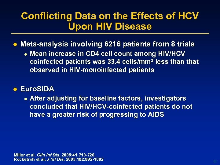 Conflicting Data on the Effects of HCV Upon HIV Disease l Meta-analysis involving 6216