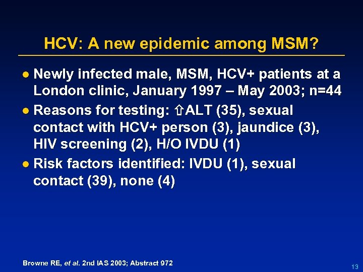 HCV: A new epidemic among MSM? l Newly infected male, MSM, HCV+ patients at