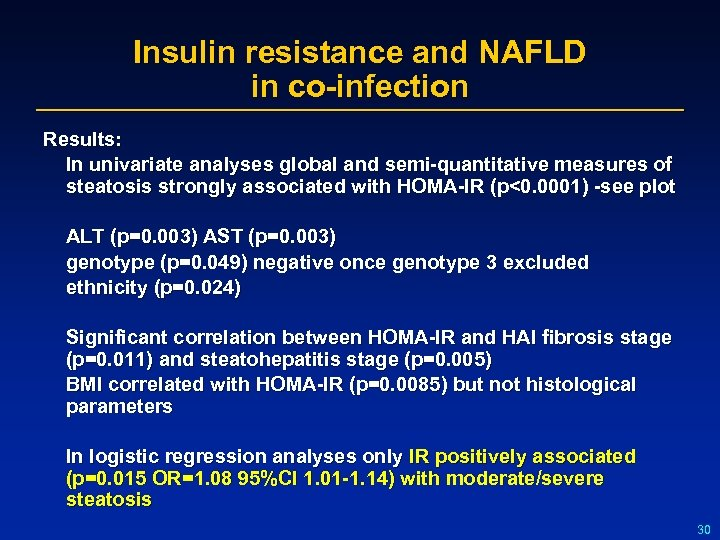 Insulin resistance and NAFLD in co-infection Results: In univariate analyses global and semi-quantitative measures