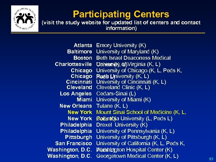 Participating Centers (visit the study website for updated list of centers and contact information)