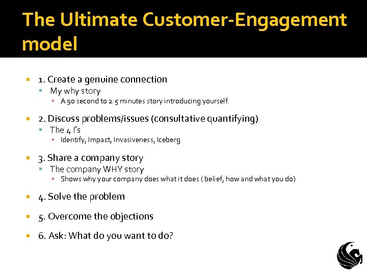 The Ultimate Customer-Engagement model 1. Create a genuine connection My why story ▪ A
