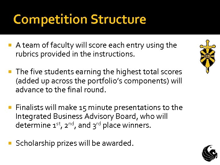 Competition Structure A team of faculty will score each entry using the rubrics provided