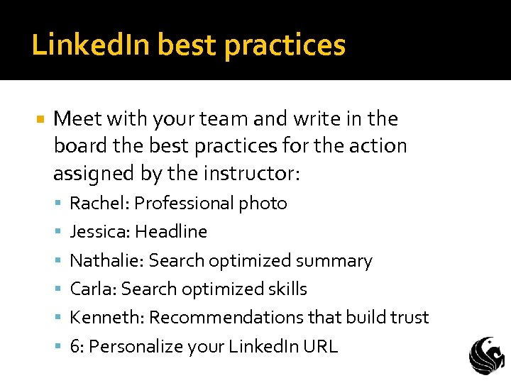 Linked. In best practices Meet with your team and write in the board the