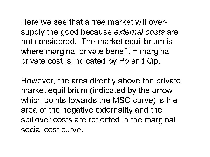 Here we see that a free market will oversupply the good because external costs