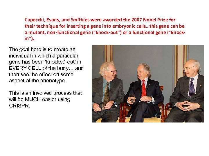 Capecchi, Evans, and Smithies were awarded the 2007 Nobel Prize for their technique for
