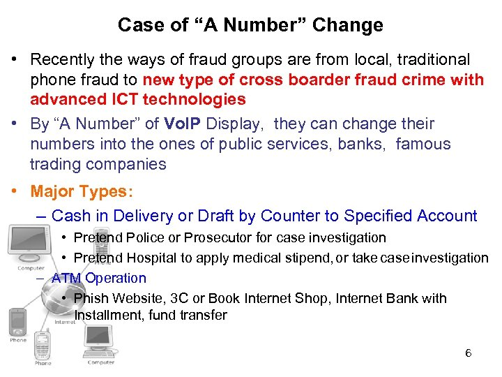 """Case of """"A Number"""" Change • Recently the ways of fraud groups are from"""