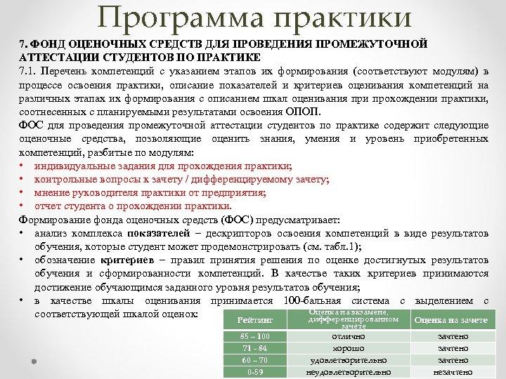 Программа практики 7. ФОНД ОЦЕНОЧНЫХ СРЕДСТВ ДЛЯ ПРОВЕДЕНИЯ ПРОМЕЖУТОЧНОЙ АТТЕСТАЦИИ СТУДЕНТОВ ПО ПРАКТИКЕ 7.
