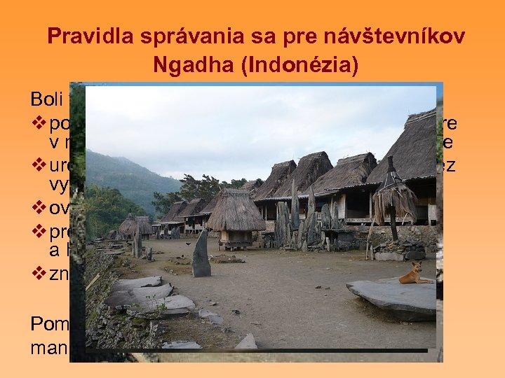 Pravidla správania sa pre návštevníkov Ngadha (Indonézia) Boli vytvorené pre návštevníkov s cieľom: