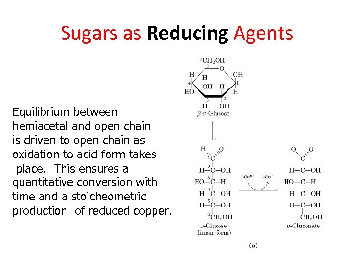 Sugars as Reducing Agents Equilibrium between hemiacetal and open chain is driven to open