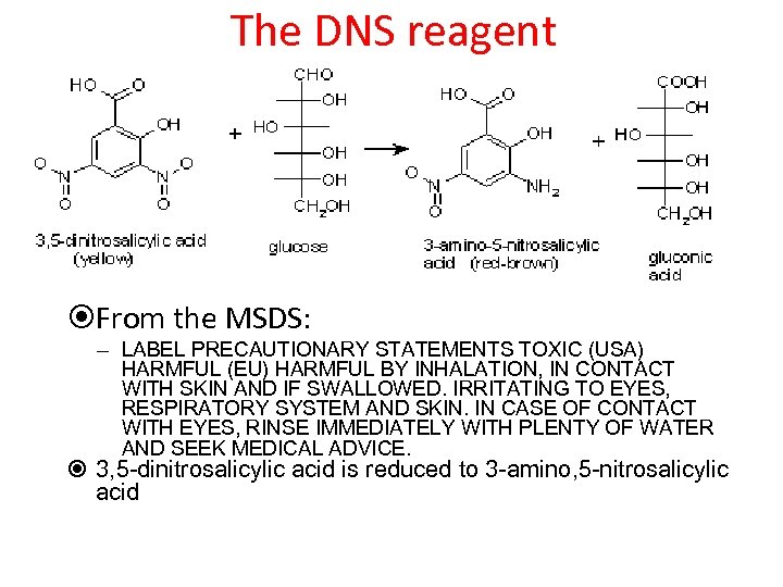 The DNS reagent From the MSDS: – LABEL PRECAUTIONARY STATEMENTS TOXIC (USA) HARMFUL (EU)