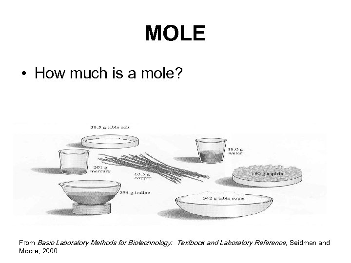 MOLE • How much is a mole? From Basic Laboratory Methods for Biotechnology: Textbook