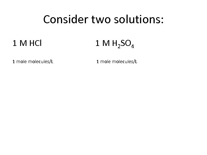 Consider two solutions: 1 M HCl 1 M H 2 SO 4 1 molecules/L