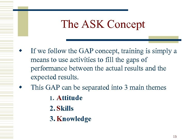 The ASK Concept w w If we follow the GAP concept, training is simply