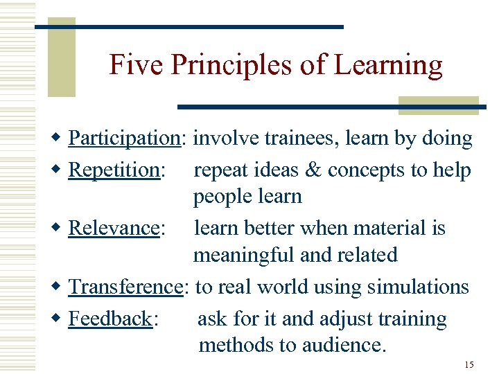 Five Principles of Learning w Participation: involve trainees, learn by doing w Repetition: repeat