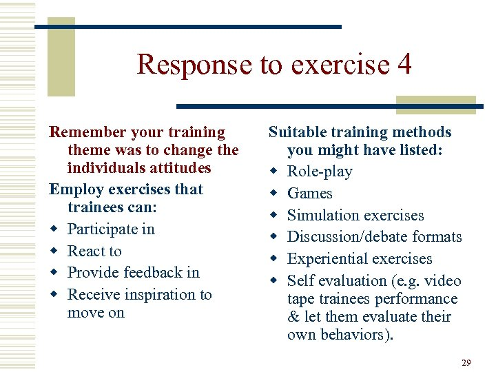 Response to exercise 4 Remember your training theme was to change the individuals attitudes