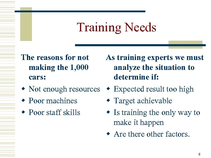 Training Needs The reasons for not making the 1, 000 cars: w Not enough