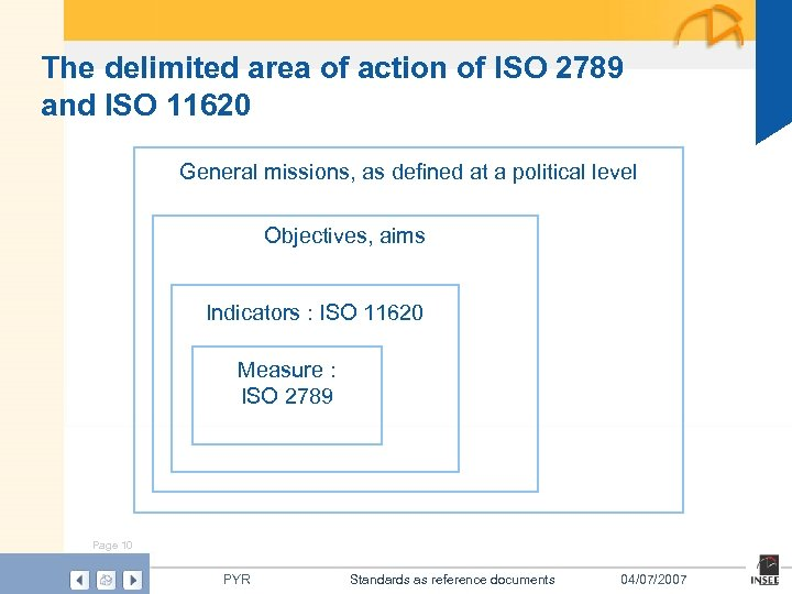 The delimited area of action of ISO 2789 and ISO 11620 General missions, as