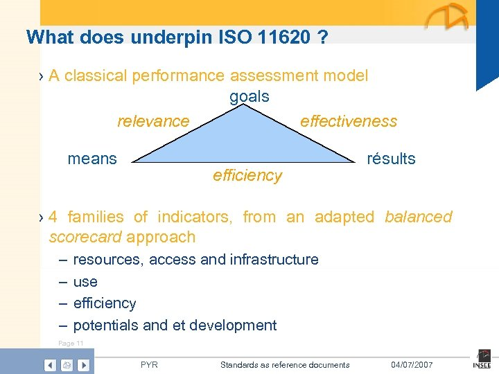 What does underpin ISO 11620 ? › A classical performance assessment model goals relevance