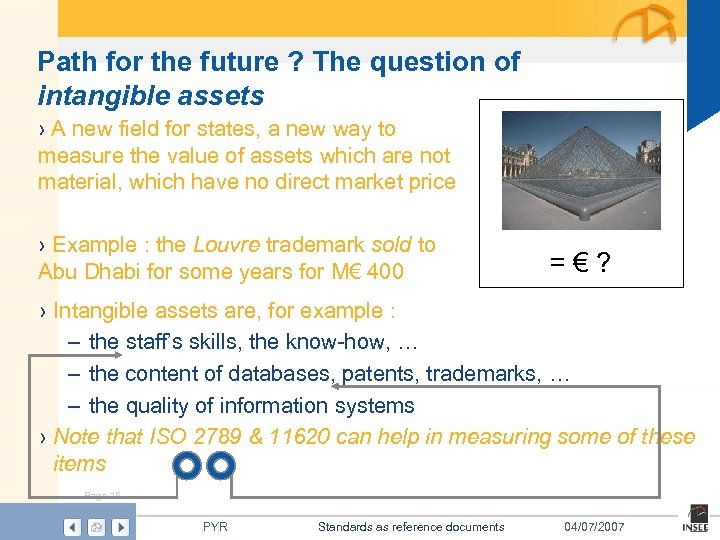 Path for the future ? The question of intangible assets › A new field