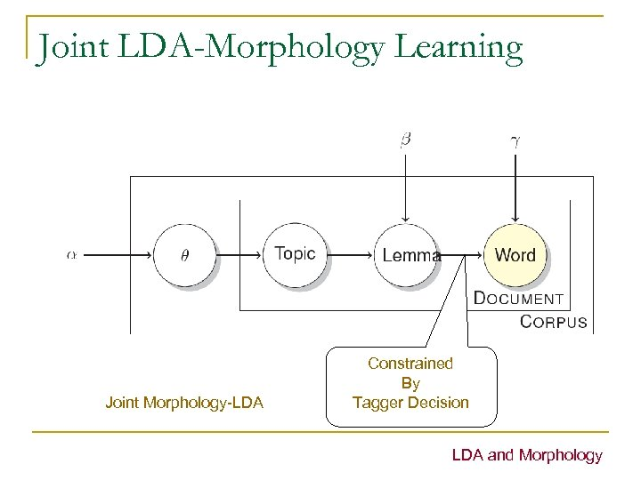 Joint LDA-Morphology Learning Joint Morphology-LDA Constrained By Tagger Decision LDA and Morphology