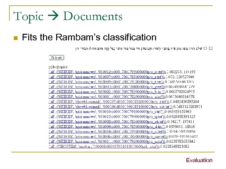 Topic Documents n Fits the Rambam's classification Evaluation