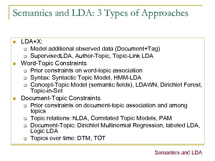 Semantics and LDA: 3 Types of Approaches n n n LDA+X: q Model additional