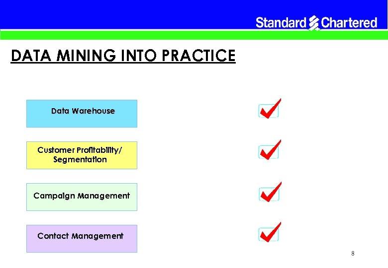 DATA MINING INTO PRACTICE Data Warehouse Customer Profitability/ Segmentation Campaign Management Contact Management 8